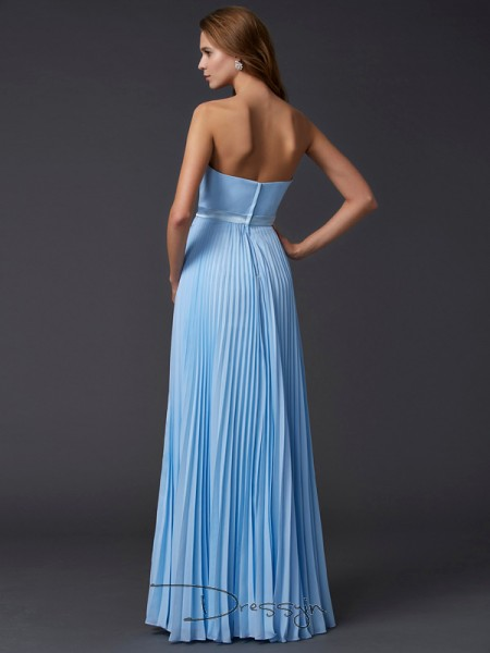 A-Line/Princess Strapless Ruched Sleeveless Chiffon Long Dresses