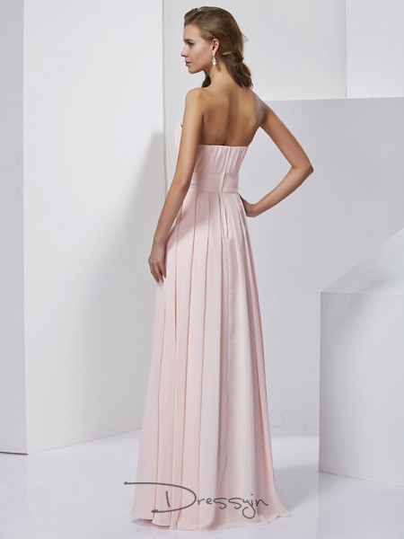A-Line/Princess Strapless Sleeveless Chiffon Long Dresses
