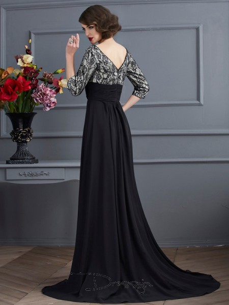 Sheath/Column V-neck Lace 3/4 Sleeves Chiffon Elastic Woven Satin Long Dresses