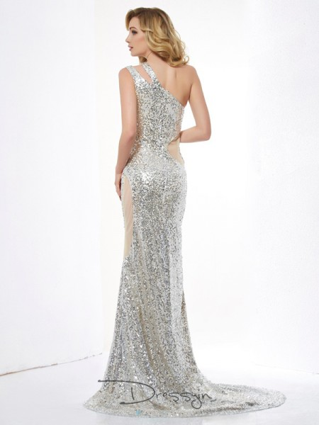 Trumpet/Mermaid One-Shoulder Lace Paillette Sleeveless Lace Sequins Long Dresses