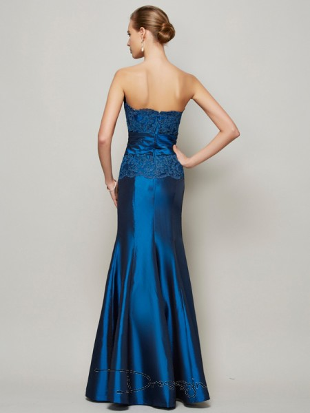 Trumpet/Mermaid Strapless Beading Applique Sleeveless Taffeta Long Dresses