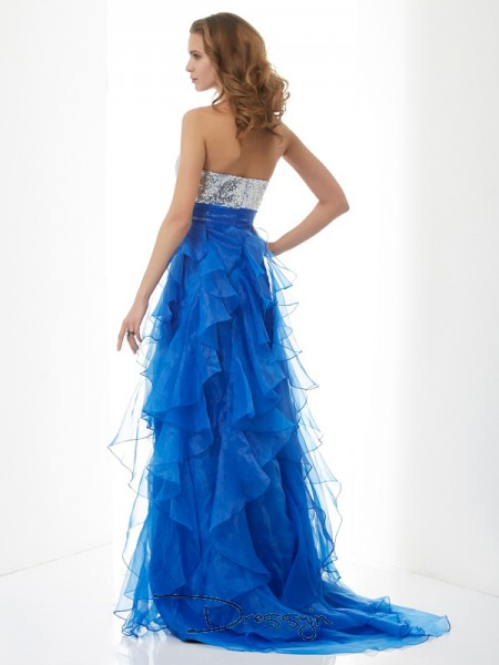 A-Line/Princess Sweetheart Paillette Sleeveless Satin Tulle Long Dresses