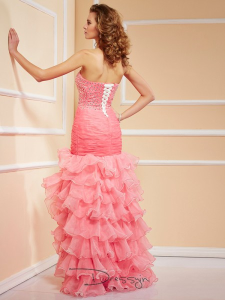 Trumpet/Mermaid Sweetheart Ruffles Beading Sleeveless Organza High Low Dresses