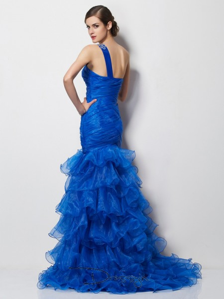 Trumpet/Mermaid One-Shoulder Pleats Sleeveless Tulle Long Dresses
