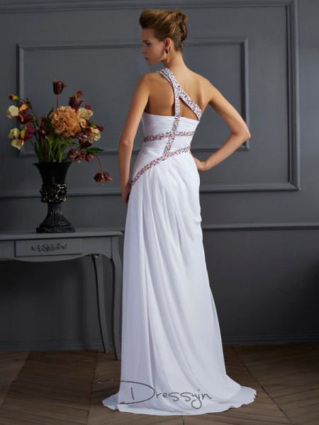 Sheath/Column One-Shoulder Beading Sleeveless Chiffon Long Dresses