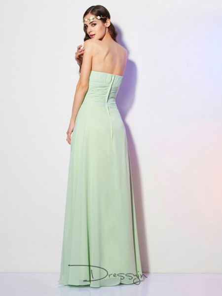 A-Line/Princess Strapless Pleats Sleeveless Chiffon Long Dresses