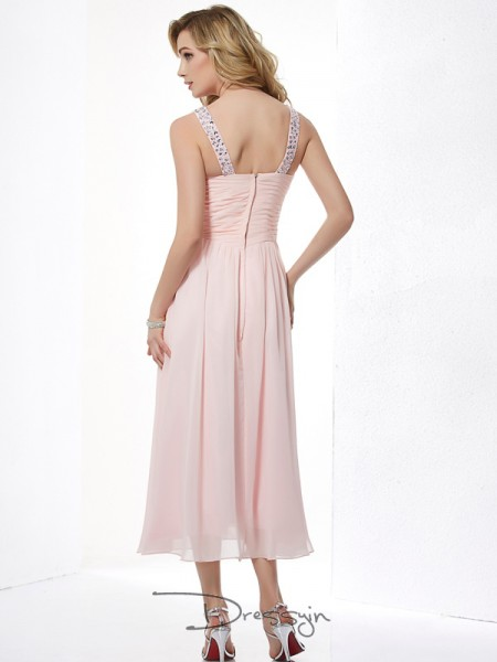A-Line/Princess V-neck Pleats Beading Sleeveless Chiffon Tea-Length Dresses