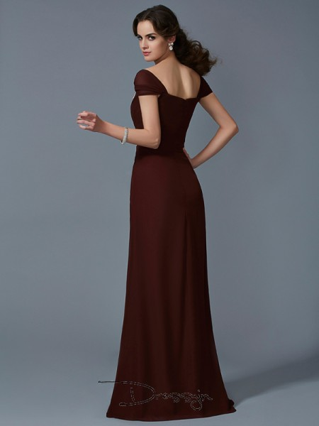 A-Line/Princess Strapless Short Sleeves Chiffon Taffeta Long Dresses