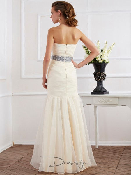 Trumpet/Mermaid Strapless Sash/Ribbon/Belt Sleeveless Organza Long Dresses