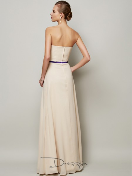 A-Line/Princess Strapless Sash/Ribbon/Belt Sleeveless Chiffon Long Dresses
