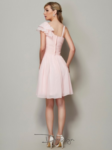 A-Line/Princess Straps Pleats Sleeveless Chiffon Short Bridesmaid Dresses