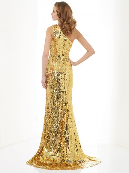 Sheath/Column One-Shoulder Lace Sequin Sleeveless Lace Sequins Long Dresses