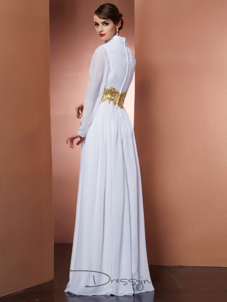 A-Line/Princess V-neck Long Sleeves Chiffon Long Dresses
