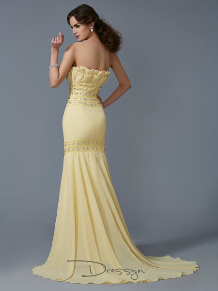 Trumpet/Mermaid Strapless Beading Sleeveless Chiffon Long Dresses