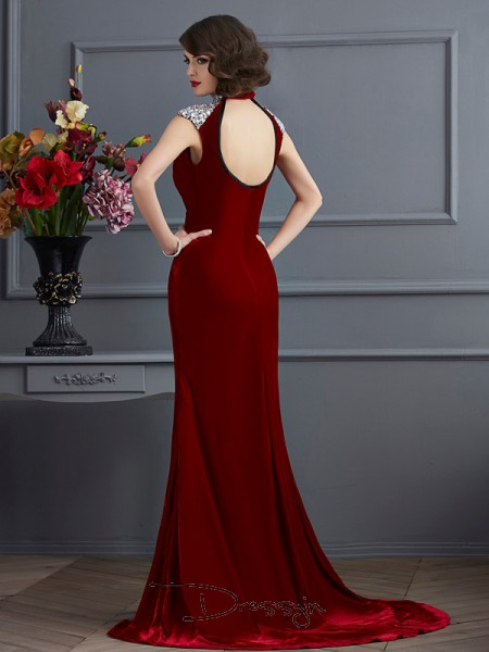 A-Line/Princess High Neck Beading Sleeveless Long Dresses