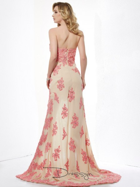 A-Line/Princess Sweetheart Applique Sleeveless Lace High Low Dresses