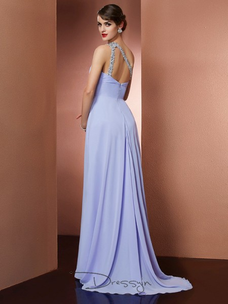 A-Line/Princess One-Shoulder Beading Applique Sleeveless Chiffon Long Dresses