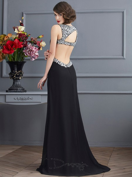 Sheath/Column Straps Beading Sleeveless Chiffon Long Dresses