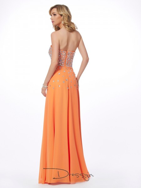 A-Line/Princess Sweetheart Rhinestone Sleeveless Chiffon Long Dresses