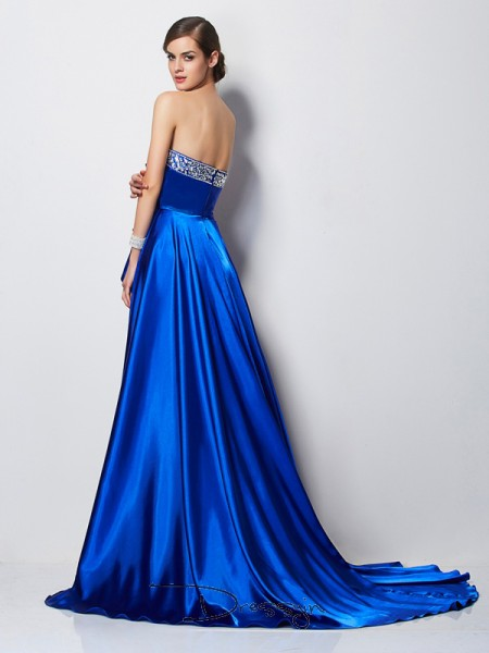 A-Line/Princess Sweetheart Beading Sleeveless Elastic Woven Satin High Low Dresses