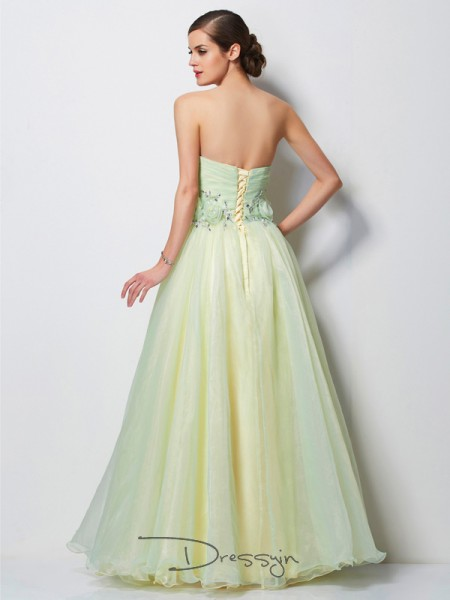 A-Line/Princess Sweetheart Hand-Made Flower Beading Sleeveless Satin Tulle Long Dresses