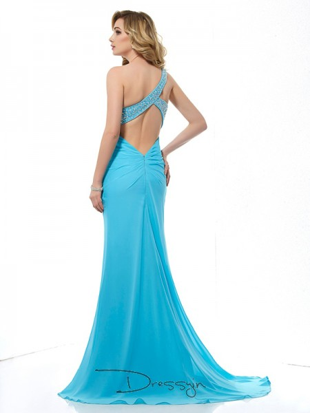 Trumpet/Mermaid One-Shoulder Beading Sleeveless Chiffon Long Dresses