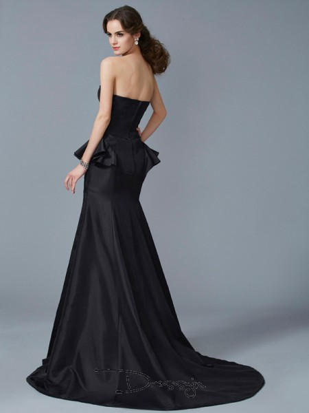 Trumpet/Mermaid Strapless Ruffles Sleeveless Taffeta Long Dresses