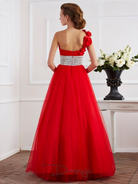 Ball Gown One-Shoulder Hand-Made Flower Beading Sleeveless Net Long Dresses