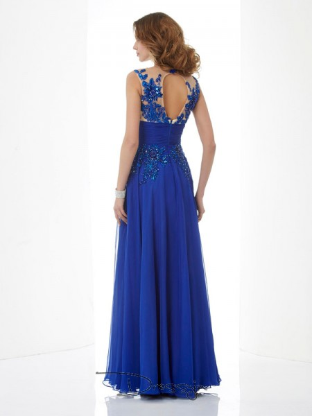 A-Line/Princess High Neck Beading Applique Sleeveless Chiffon Long Dresses