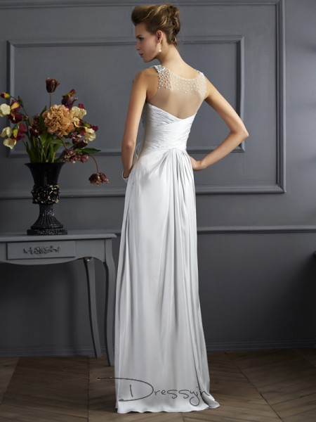 A-Line/Princess Straps Beading Sleeveless Silk like Satin Long Dresses