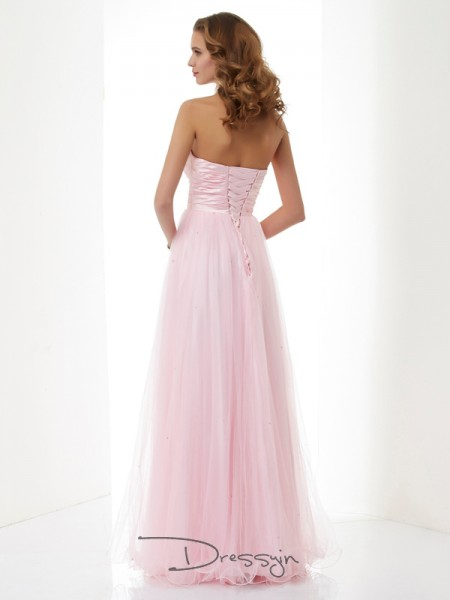 A-Line/Princess Sweetheart Beading Sleeveless Elastic Woven Satin Net Long Dresses