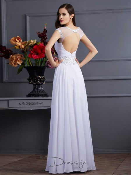 A-Line/Princess Bateau Beading Short Sleeves Chiffon Long Dresses