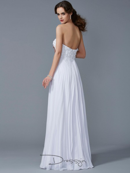 A-Line/Princess Sweetheart Ruffles Sleeveless Chiffon Long Dresses