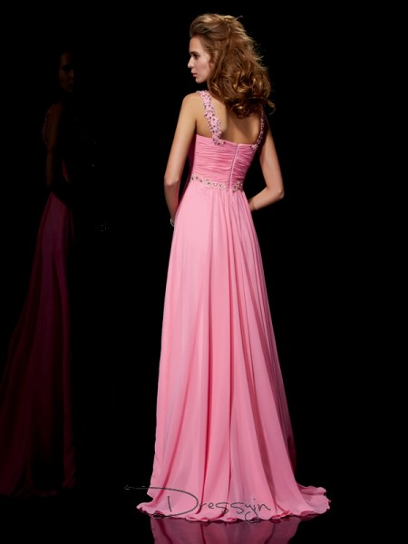 A-Line/Princess Straps Beading Sleeveless Chiffon Long Dresses