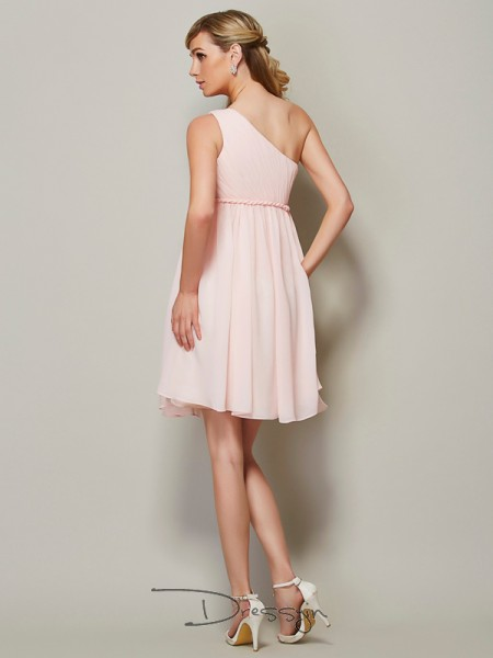 A-Line/Princess One-Shoulder Sash/Ribbon/Belt Sleeveless Chiffon Knee-Length Bridesmaid Dresses