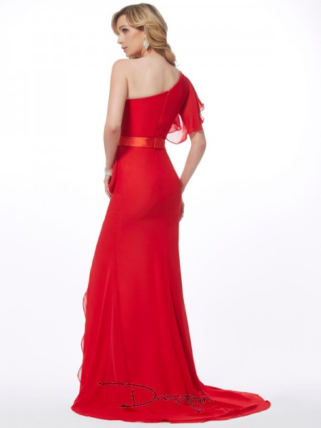 Trumpet/Mermaid One-Shoulder Hand-Made Flower Sleeveless Chiffon Long Dresses