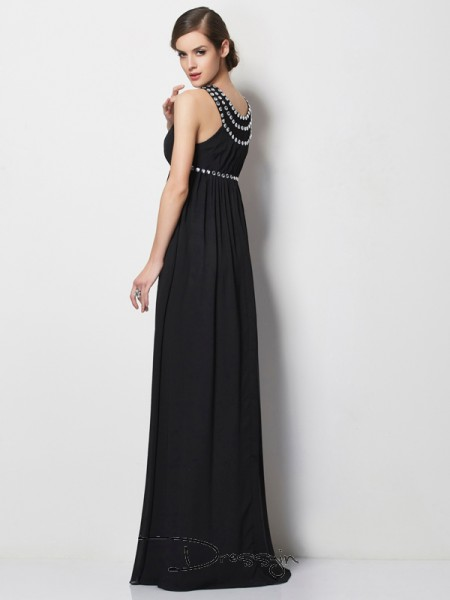 Sheath/Column High Neck Beading Sleeveless Chiffon Long Dresses