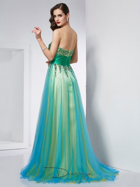 Ball Gown Sweetheart Ruffles Sleeveless Elastic Woven Satin Net Long Dresses