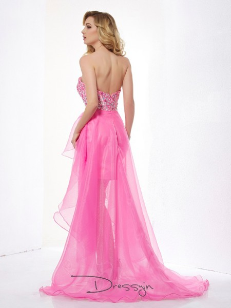 A-Line/Princess Sweetheart Beading Sleeveless Organza High Low Dresses