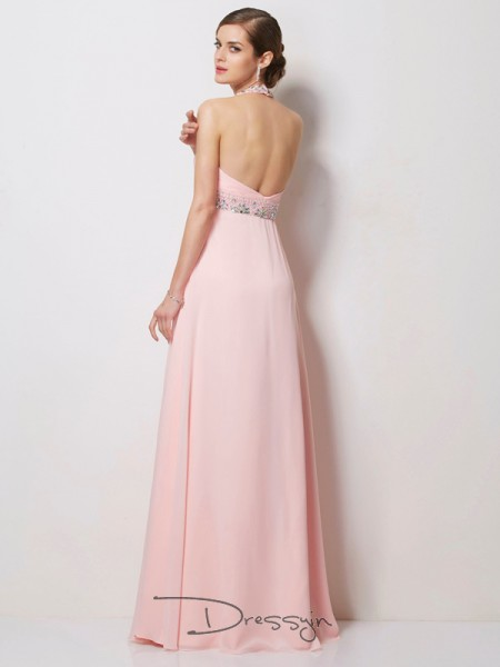 A-Line/Princess Halter Beading Sleeveless Chiffon Long Dresses