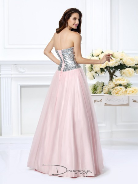 Ball Gown Sleeveless Sweetheart Beading Satin Long Dresses