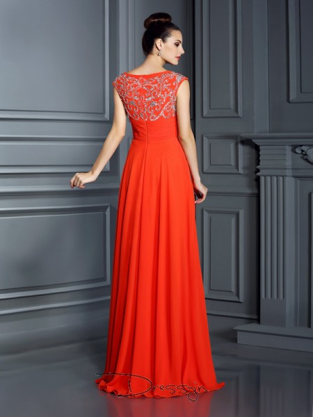A-Line/Princess Sleeveless Bateau Beading Chiffon Long Dresses