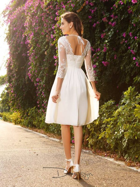 A-Line/Princess 3/4 Sleeves V-neck Other Chiffon Knee-Length Wedding Dresses