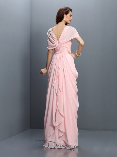 A-Line/Princess Short Sleeves Sweetheart Pleats Chiffon Long Bridesmaid Dresses