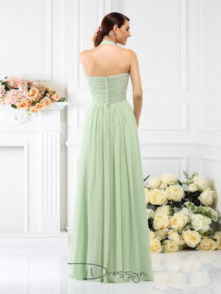 A-Line/Princess Sleeveless Halter Pleats Chiffon Long Bridesmaid Dresses