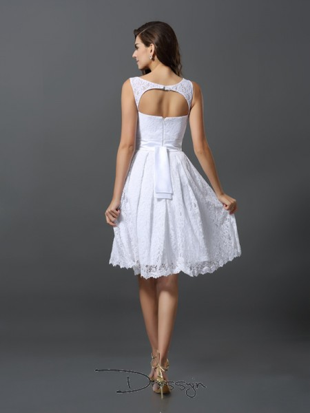 A-Line/Princess Sleeveless Scoop Other Lace Knee-Length Bridesmaid Dresses