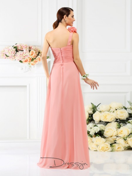 A-Line/Princess Sleeveless One-Shoulder Hand-Made Flower Chiffon Long Bridesmaid Dresses