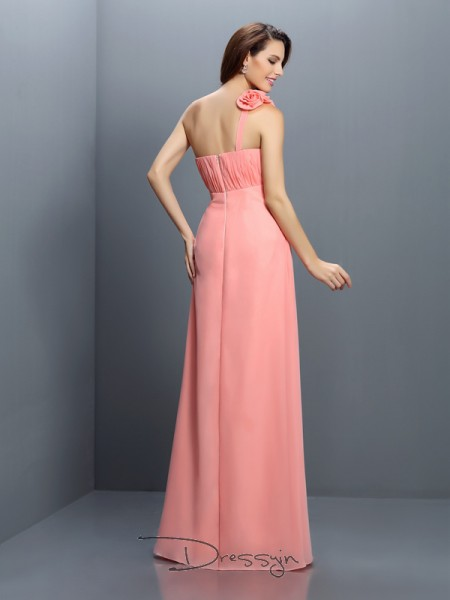 A-Line/Princess Sleeveless Strapless Hand-Made Flower Chiffon Long Bridesmaid Dresses