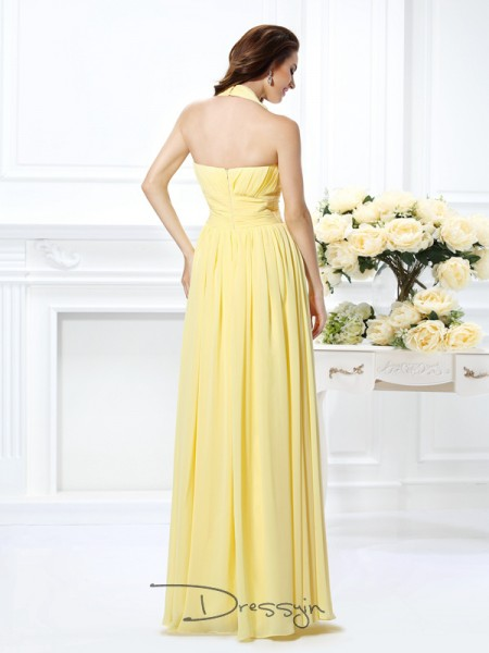 A-Line/Princess Sleeveless Halter Pleats Chiffon Long Dresses