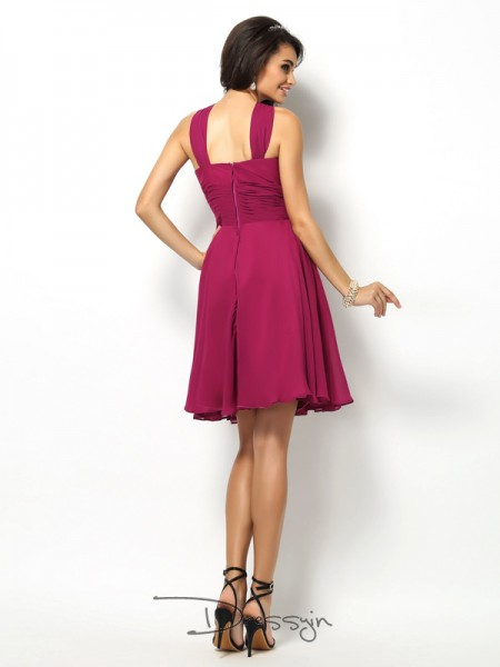 A-Line/Princess Sleeveless High Neck Pleats Chiffon Short Bridesmaid Dresses